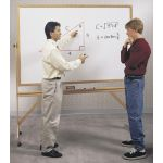 Free-Standing Reversible Board, Wood Frame Double Sided Markerboard, 4' x 6'