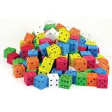 Assorted Color Spot 16mm Foam Dice, Bag of 200