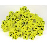 Yellow Spot & Number 16mm Foam Dice, Bag of 200