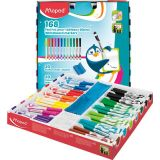 Maped® Dry Erase Markers Classpack of 168 (12 colors, includes 20 erasing cloths & extra caps)