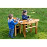 Outdoor Curved Mud Table, Without tap and sink
