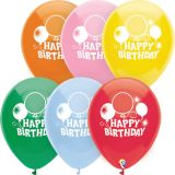 12 Happy Birthday Balloons, 2-Sided Print, Pack of 8
