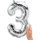16 Foil Balloon, Silver Number 3