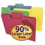 Smead® SuperTab® Letter Size Folders, Assorted Colors, Box of 100