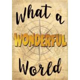 Travel the Map What a Wonderful World Positive Poster