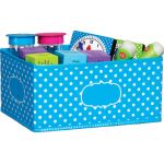 Aqua Polka Dots Storage Bin, Small