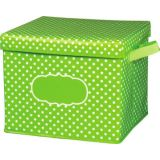 Lime Polka Dots Storage Bin, Box w/Lid