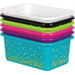 Lime Confetti Small Plastic Storage Bin