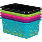 Purple Confetti Small Plastic Storage Bin
