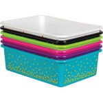 Black Confetti Large Plastic Storage Bin