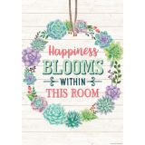 Rustic Bloom Happiness Blooms Within This Room Positive Poster