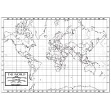 Outline Map, Paper, World