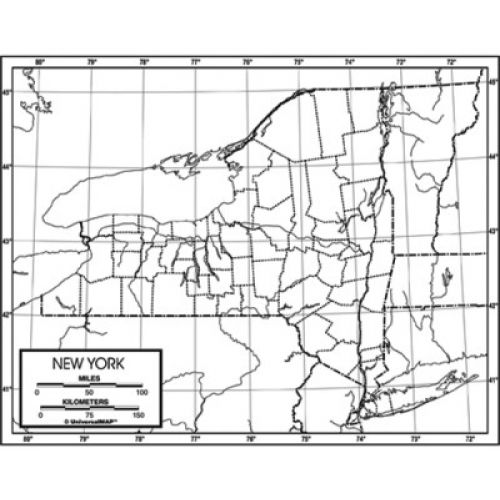 Outline Map Laminated New York Umg21254