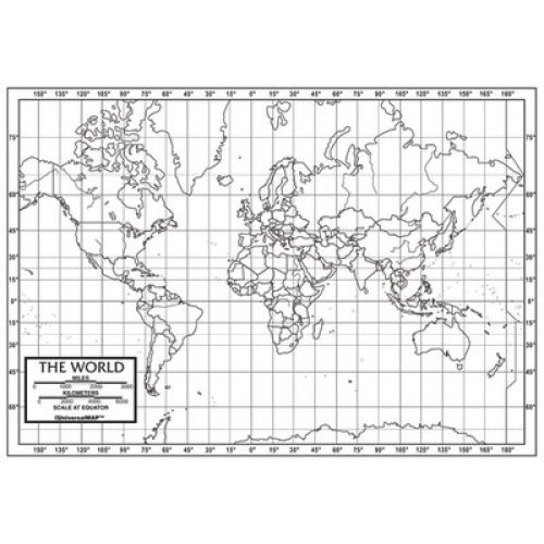 Outline Map, Laminated, World