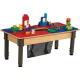 Time-2-Play DUPLO® Compatible Table, Rectangle, w/12-17 Adjustable Legs, Blue/Red