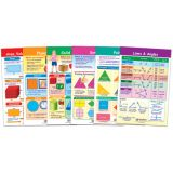 Math Bulletin Board Chart Set, Shapes & Figures, Set of 6