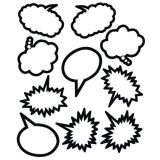 Black & White Speech/Thought Bubbles Accents