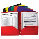 C-Line® Two-Pocket Poly Portfolios with Three-Hole Punch, Assorted colors, Box of 36