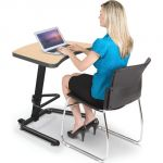 Up-Rite Student Height Adjustable Sit/Stand Desk, Fusion Maple Laminate, Black Edge Band