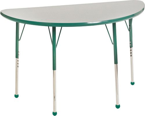 Adjustable Activity Table, 24 X 48 Half Round, Gray Top, Green Trim, Green  Legs, Standard Leg, Ball Glides