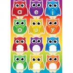 Magnetic Mini Bulletin Board Set, Owls with Vowels