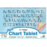 Colored Paper Chart Tablet, 24 x 16, 1 1/2 ruled