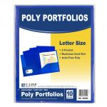 C-Line® Two-Pocket Poly Portfolios, Without prongs, Blue, Pack of 10