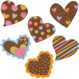 Dots on Chocolate Hearts 1 Mini Designer Cut-Outs