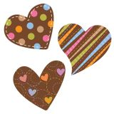 Dots on Chocolate Hearts 10 Jumbo Designer Cut-Outs