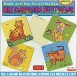 5 in 1 Hole Cardboards with Threads, Tiger, Squirrel, Cow, Rabbit, 10x10