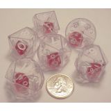 10-Sided Double Dice, Clear, Set of 6