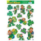 Leprechaun & Shamrock Window Clings