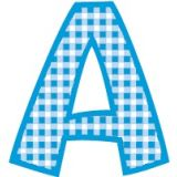 Playful Gingham Ready Letters, 4 Blue