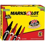 Marks-A-Lot® Permanent Marker, Value Pack, Assorted, 24 per pack