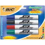 BIC® Great Erase® Dry Erase Markers, Chisel Point, 4/pkg