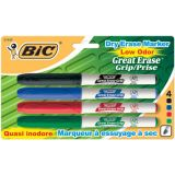 BIC® Great Erase® Grip Low Odor Dry Erase Markers, Fine Point, 4/pkg