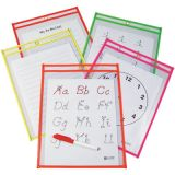C-Line® Reusable Dry Erase Pockets, Assorted Neon, 6 x 12, 10/pkg