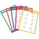 C-Line® Reusable Dry Erase Pockets, Assorted Primary, 6 x 9, 10/pkg
