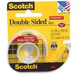 Scotch® Double Sided Permanent Tape, 1/2 x 250
