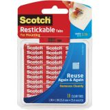 Scotch® Reusable Tabs, 1 x 1, 18 squares, clear