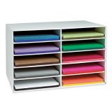 Construction Paper Storage, 12 x 18 Sheets, 10 slots, by Classroom Keepers