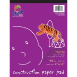 Construction Paper Pad - 40 sheets/pad - 4 each of 10 assorted colors - 12 x 9