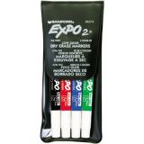 Expo2® Low Odor Dry Erase Markers, 4-Color Set, Fine Tip