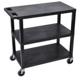 18 x 32 Cart 3 Flat Shelves - Black