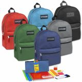 1 Case (12 units) Preassembled 17 Inch Backpack & 12 Piece School Supply Kit Assorted Colors