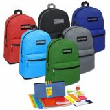 1 Case (12 units) Preassembled 19 Inch Backpack & 18 Piece School Supply Kit - Assorted Colors