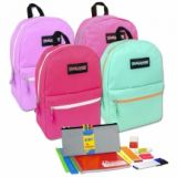 1 Case (12 units) Preassembled 17 Inch Backpack & 12 Piece School Supply Kit - Girls
