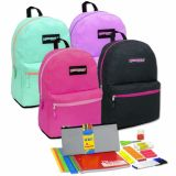 1 Case (12 units) Preassembled 19 Inch Backpack & 18 Piece School Supply Kit - Girls