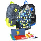 1 Case (12 units) Preassembled 18 Inch Graphic Backpack & 12 Piece School Supply Kit - Boys