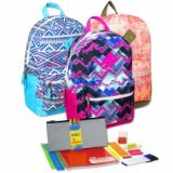 1 Case (12 units) Preassembled 18 Inch Graphic Backpack & 12 Piece School Supply Kit - Girls